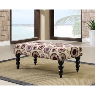 Linon Estelle Foliage Print Bench Black Turned Legs