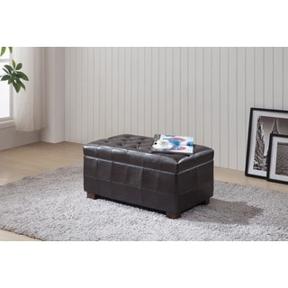 Royal Comfort Collection Traditional Brown Faux Leather Tufted Storage Bench Ottoman