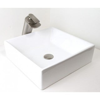 "16.5"" European Style Rectangular Shape Porcelain Ceramic Bathroom Vessel Sink"