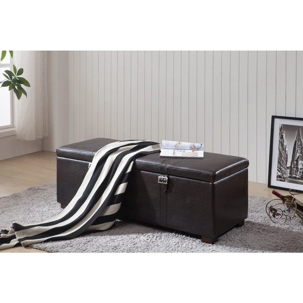 Classic Brown Faux Leather Storage Ottoman