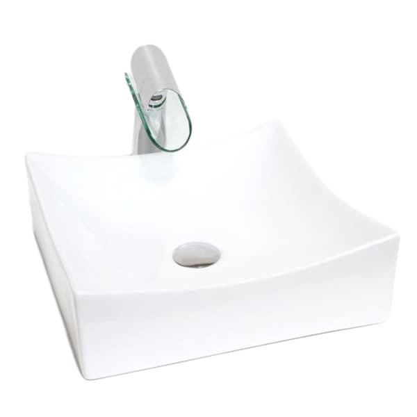 "15.5"" European Style Rectangular Shape Porcelain Ceramic Bathroom Vessel Sink"
