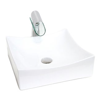 "15.5"" European Style Rectangular Shape Porcelain Ceramic Bathroom Vessel Sink"
