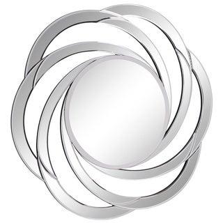 Somette Modern Round Swirl Clear Mirror