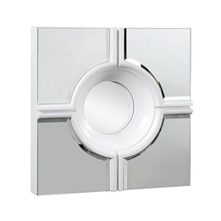 Somette Modern Square White Lacquer Mirror
