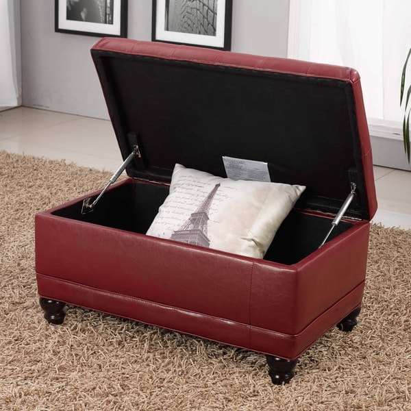 Classic Burgundy Red Storage Bench Ottoman   Free Shipping Today    Overstock.com   16295436