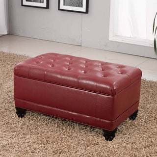 Classic Burgundy Red Storage Bench Ottoman