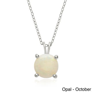 Dolce Giavonna Sterling Silver Gemstone Birthstone Necklace (More options available)