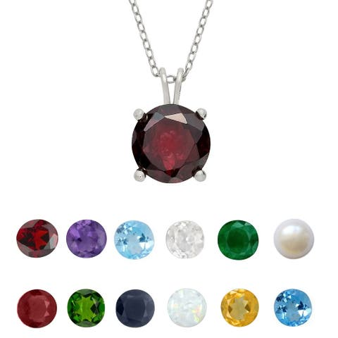 Dolce Giavonna Sterling Silver Gemstone Birthstone Necklace