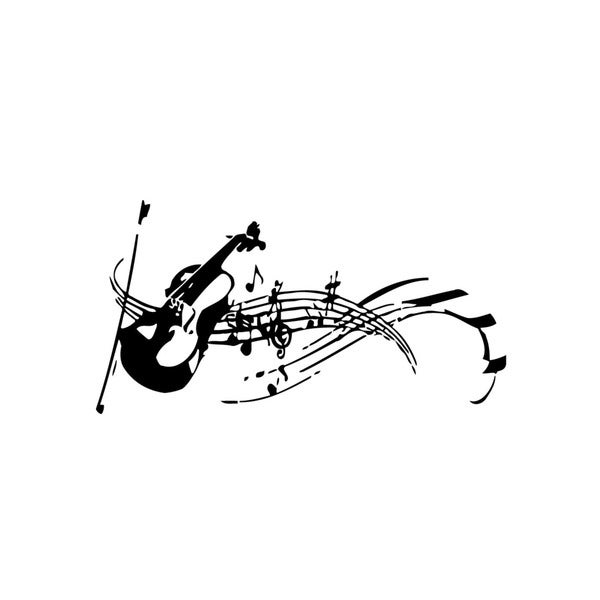 Shop Violin with Musical Notes Vinyl Wall Art - Free Shipping On ...