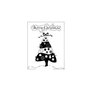 Merry Christmas Tree Poster Vinyl Wall Art