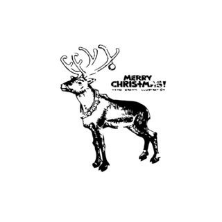 Deer Merry Christmas Time Vinyl Wall Art