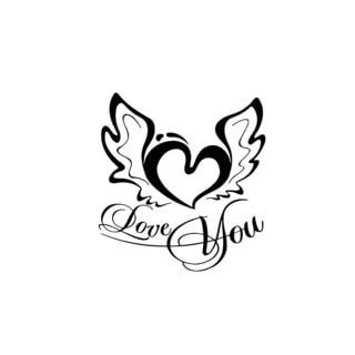 Love You Heart Sign Vinyl Wall Art
