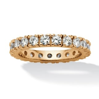 1.58 TCW Round Cubic Zirconia Eternity Band in 18k Gold over Sterling Silver Classic CZ