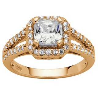 1.63 TCW Princess-Cut Cubic Zirconia Halo Split Shank Ring in 18k Gold over Sterling Silve