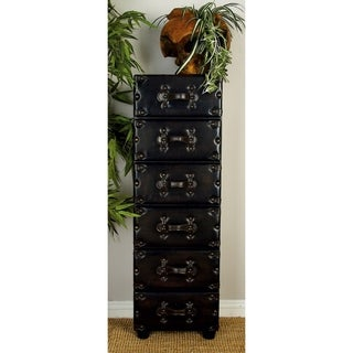 Wooden Leather Cabinet With 6 Drawers