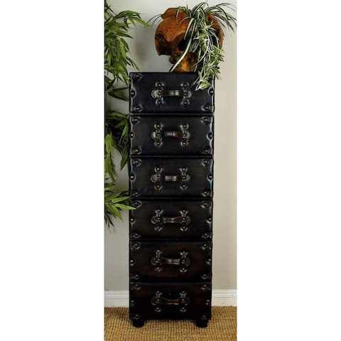 Traditional 48 Inch 6-Drawer Wood and Leather Chest by Studio 350