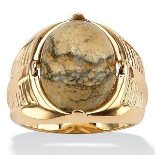 Men's Oval-Shaped Genuine Jasper Cabochon 14k Yellow Gold-Plated Classic Ring