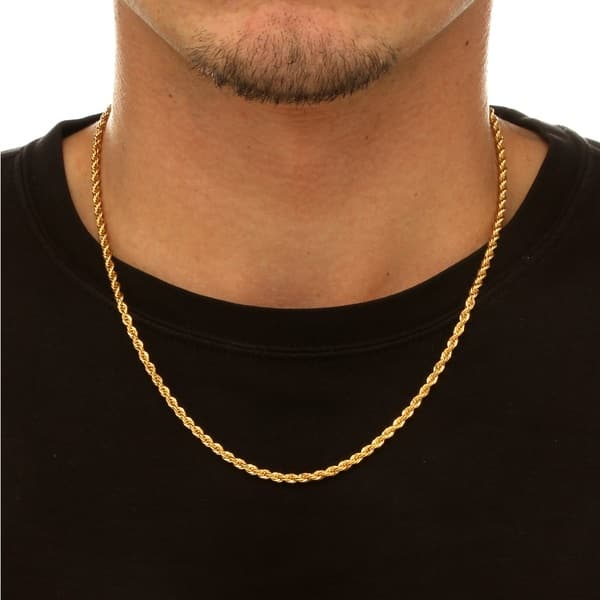 Rope Chain Necklace In 18k Gold Over