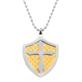 Yellow Ion-plated Stainless Steel Shield and Cross 2-piece Pendant Necklace
