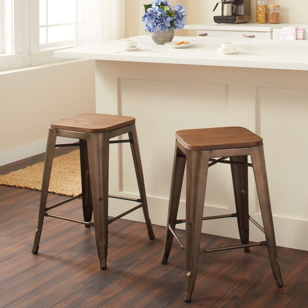 Counter Stools Overstock: Shop Vintage Wood Seat Counter Stools (Set Of 2)