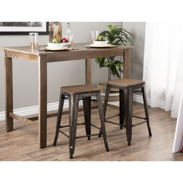 tabouret vintage wood seat counter stools set of 2 free shipping today. Black Bedroom Furniture Sets. Home Design Ideas