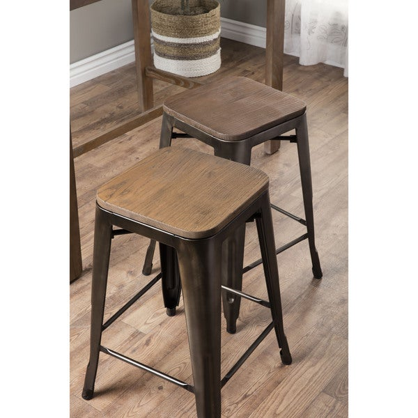 Tabouret Vintage Wood Seat Counter Stools (Set of 2) - Free Shipping Today - Overstock.com - 16295636  sc 1 st  Overstock.com & Tabouret Vintage Wood Seat Counter Stools (Set of 2) - Free ... islam-shia.org
