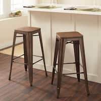 Tabouret 30-inch Vintage Wood Seat Bar Stool (Set of 2)
