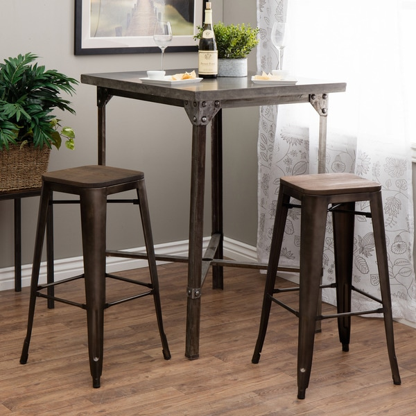 tabouret 30 inch vintage wood seat bar stool set of 2 free shipping today. Black Bedroom Furniture Sets. Home Design Ideas