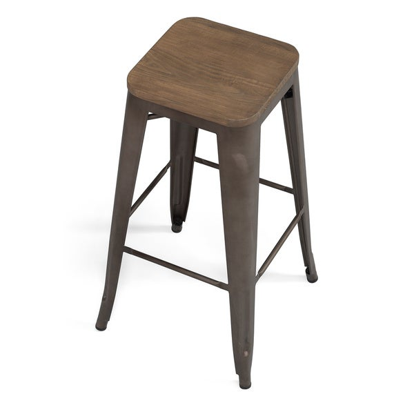 Marvelous Wood Seat Bar Stool Part - 11: Tabouret 30-inch Vintage Wood Seat Bar Stool (Set Of 2) - Free Shipping  Today - Overstock.com - 16295637