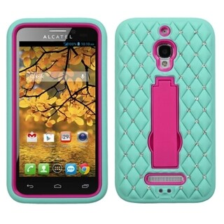 INSTEN Diamonds Stand Dual Layer Hybrid Phone Case Cover for Alcatel One Touch Fierce 7024W
