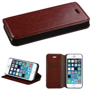 INSTEN Card Slots Colorful Book-style Leather Phone Case Cover for Apple iPhone 5/ 5s/ SE (Option: Brown)