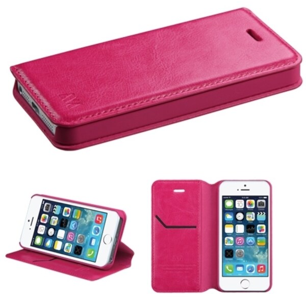 INSTEN Card Slots Colorful Book-style Leather Phone Case Cover for Apple iPhone 5/ 5s/ SE