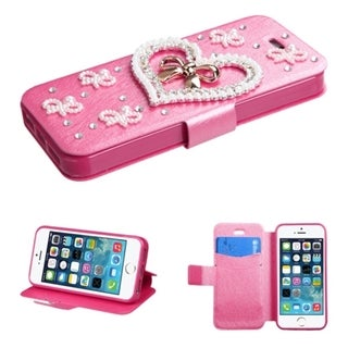 INSTEN Diamonds Card Slots Book-style Leather Phone Case Cover for Apple iPhone 5/ 5s/ SE