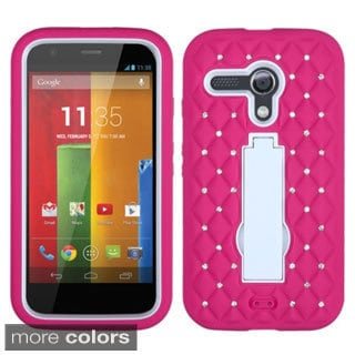 INSTEN Diamonds Stand Dual Layer Hybrid Phone Case Cover for Motorola Moto G
