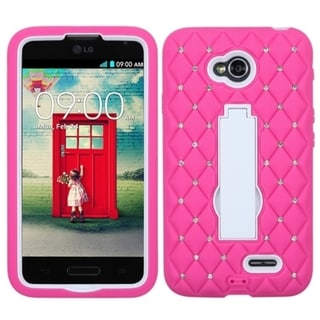 INSTEN Diamonds Stand Dual Layer Hybrid Phone Case Cover for LG Optimus L70 MS323, Exceed 2 VS450PP Verizon