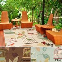 Hand-hooked Elisha Transitional Floral Indoor/ Outdoor Area Rug - 2' x 3'