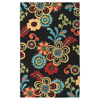 Hand-hooked Kim Transitional Floral Indoor/ Outdoor Area Rug (2' x 3') (Option: Black-(2' x 3'))