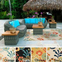 Hand-hooked Kim Transitional Floral Indoor/ Outdoor Area Rug - 2' x 3'