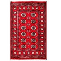 Handmade Herat Oriental Pakistani Tribal Bokhara Wool Rug (Pakistan) - 3'1 x 4'11
