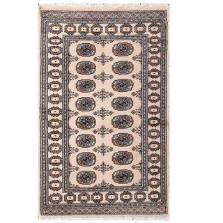 Herat Oriental Pakistani Hand-knotted Tribal Bokhara Beige/ Black Wool Rug (3' x 4'11)
