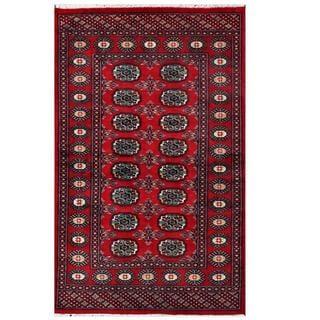 Herat Oriental Pakistani Hand-knotted Tribal Bokhara Red/ Black Wool Rug (3'1 x 4'11)