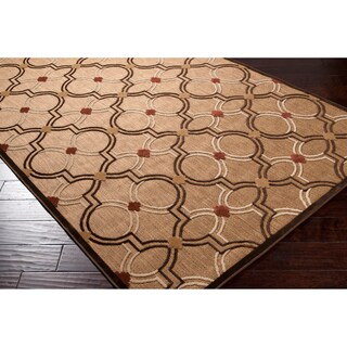 Jewel Brown/Ivory/Multicolor Olefin/Synthetic Transitional Geometric Indoor/Outdoor Area Rug (7'10 x 10' 8)
