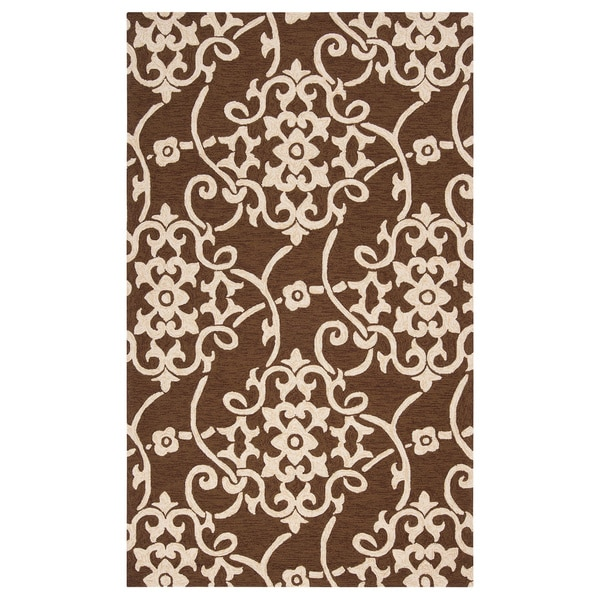 Hand-hooked Kiera Transitional Floral Indoor/ Outdoor Area Rug - 8' x 10'