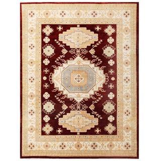 Herat Oriental Afghan Hand-knotted Kazak Red/ Ivory Wool Rug (5'2 x 7'3)