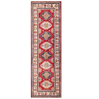 Herat Oriental Afghan Hand-knotted Kazak Red/ Ivory Wool Runner (2'10 x 9'2)