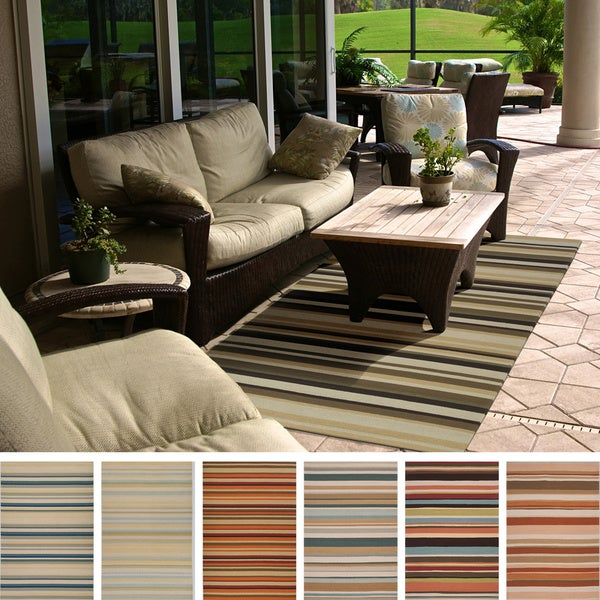8x10 Indoor Outdoor Area Rugs: Hand-hooked Shailene Striped Casual Indoor/ Outdoor Area