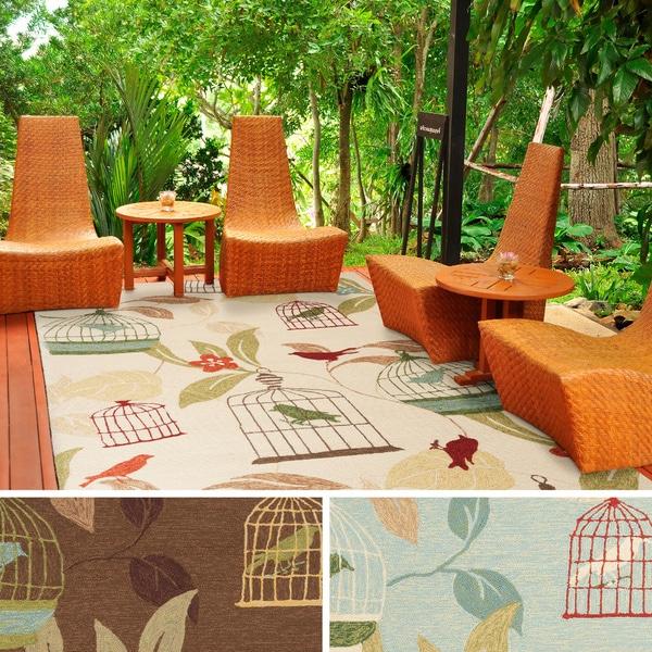 Hand-hooked Elisha Transitional Floral Indoor/ Outdoor Area Rug