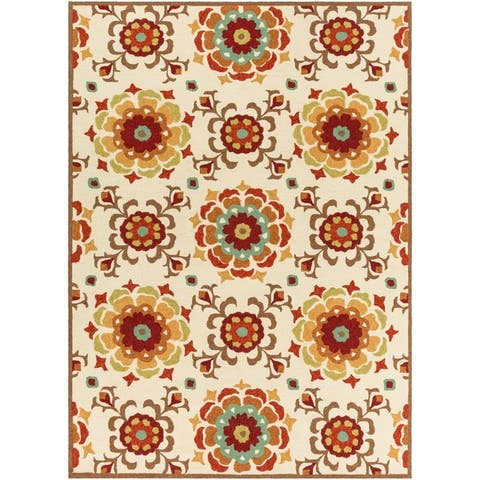 Hand-hooked Natalie Contemporary Floral Indoor/ Outdoor Area Rug