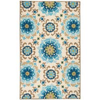 Hand-hooked Natalie Contemporary Floral Indoor/ Outdoor Area Rug - 8' x 10'6