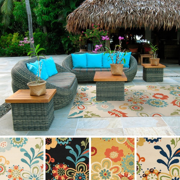 8x10 Indoor Outdoor Area Rugs: Hand-hooked Kim Transitional Floral Indoor/ Outdoor Area